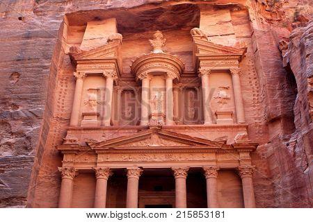 Al-Khazneh temple in the ancient Arab Nabatean Kingdom city of Petra, Jordan