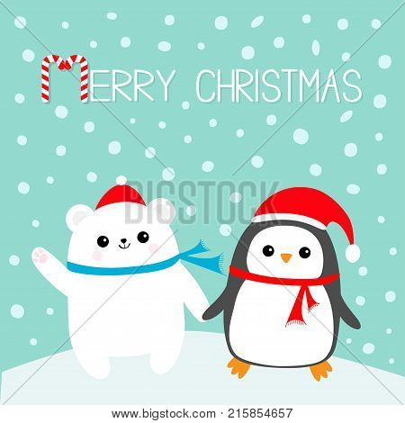 Merry Christmas. Candy cane. Kawaii Penguin bird Polar white bear cub. Red Santa Claus hat scarf. Cute cartoon baby character. Flat design Winter blue background with snow flake. Greeting card Vector
