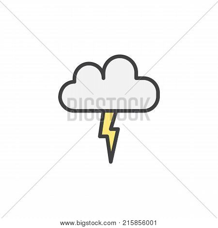 Lightning, thunderstorm cloud filled outline icon, line vector sign, linear colorful pictogram isolated on white. Cloud with light flash symbol, logo illustration. Pixel perfect vector graphics