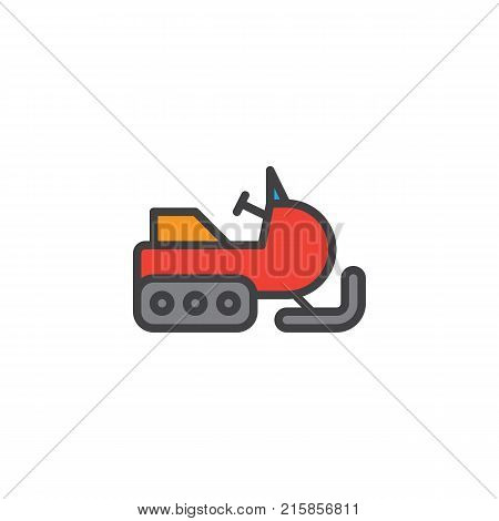 Snowmobile filled outline icon, line vector sign, linear colorful pictogram isolated on white. Snow sledge ski bike symbol, logo illustration. Pixel perfect vector graphics