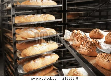 Bakery products on shelving, indoors