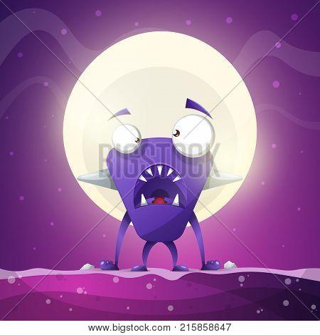 Fear, horror, hell, cartoon illustration Monster animals Vector eps10