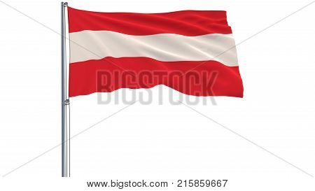 Isolated flag of Austria on a flagpole fluttering in the wind on a white background 3d rendering