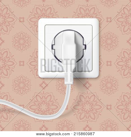 White plug inserted in a wall socket on backdrop of wall with wallpaper. The plug is plugged into the power lines with electric cord. Icon of device for connecting electrical appliances