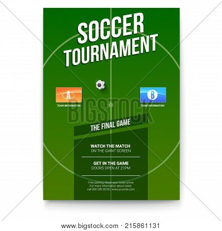 Soccer, football poster with text design. Template for game tournament. Soccer ball above green field with flags of participating teams. Sport events design for print design. 3D illustration.