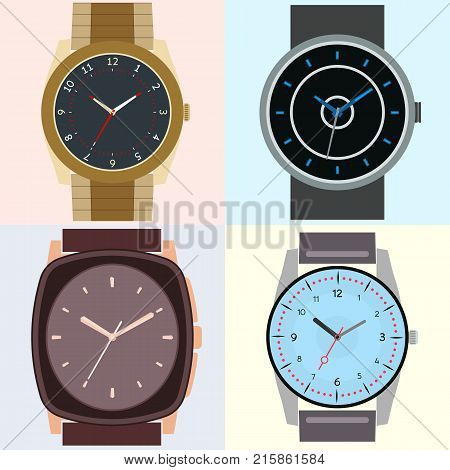 Set of four watches. Clock face with hour minute and second hands. Vector illustration.