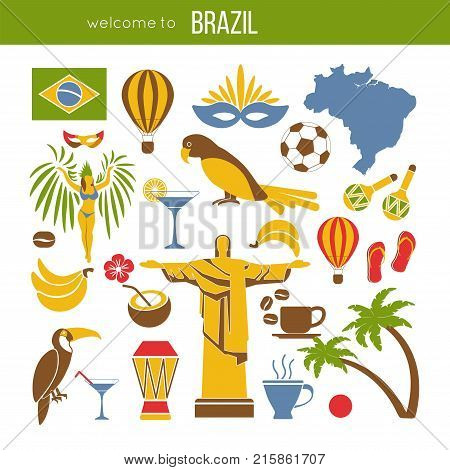 Brazil sightseeing landmarks and famous vector travel attractions poster. Vector flat icons of Brazilian flag and map, Christ Redeemer in Rio de Janeiro, samba carnival drums, coffee and football