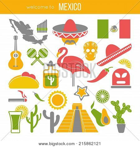 Set of Mexico travel symbols. Mexican flat vector illustrations. Collection icons tequila, chili and taco, sombrero, guitar and maracas, skull and Machu Picchu pyramid, Frida, flag and map.