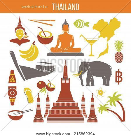 Set of Thailand travel symbols and Bangkok landmarks. Thai culture flat vector illustrations. Collection tourism icons elephant and monk, Golden Buddha and temple, flower and pineapple, flag and map.