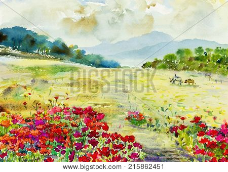 Watercolor painting original landscape colorful of wildflowers buffalo in meadow garden and mountain hill emotion in sky,cloud background. Painted Impressionist abstract image, beauty nature spring season.