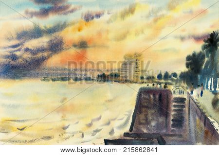 Watercolor seascape original painting on paper soft colorful of evening sea and view beach with Building hotel the tourist and sky cloud in the beauty nature background. Painted Impressionist abstract image illustration.