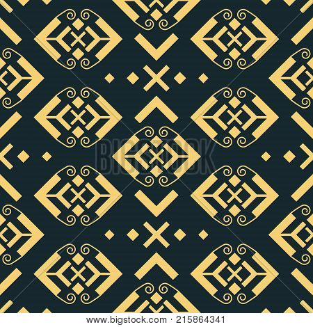 Abstract seamless geometric pattern. Graceful ornament with openwork arrowhead shapes in golden color