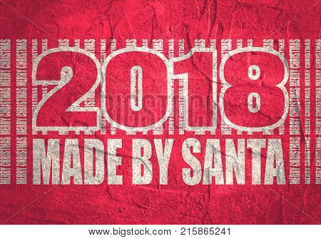 New Year and Christmas celebration card template. Made by Santa text and 2018 year number. Bar code from merry christmas words. Illustration relative to holiday sales