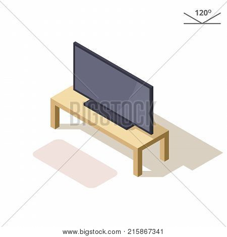 Isometric or 3d illustration. Flat plasma or LCD TV on the coffee table