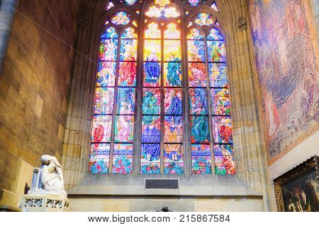 Kutna Hora, Czech Republic - Nivember, 24, 2017: painting glass in St. Vita cathidral in Prague