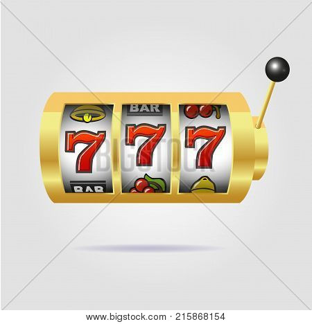 Slot machine with lucky sevens jackpot on a gray background
