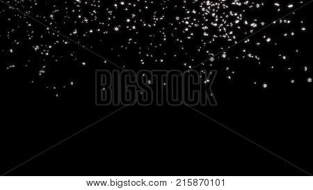 3D illustration of Raining of Chubby and Tiny Silver Six Branch Stars with a Black Background