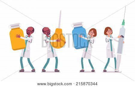 Male and female doctor with giant tools. People in hospital uniform holding big enema, syringe. Medicine and healthcare concept. Vector flat style cartoon illustration isolated on white background