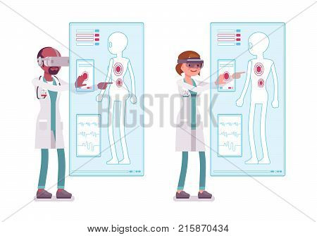 Male and female doctor doing VR-diagnostics. People in hospital and virtual reality immersion therapy. Medicine, healthcare concept. Vector flat style cartoon illustration isolated on white background