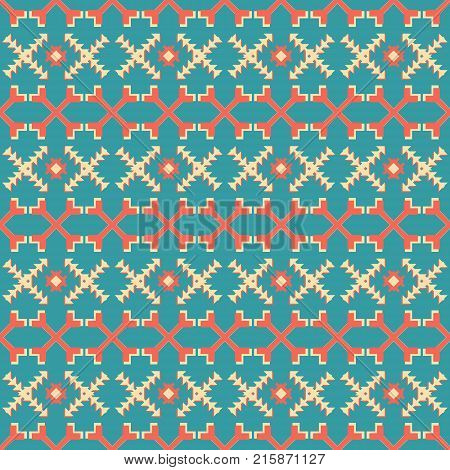 Abstract seamless vector pattern of criss-crossed geometric shapes. Yellow, red and blue retro colors