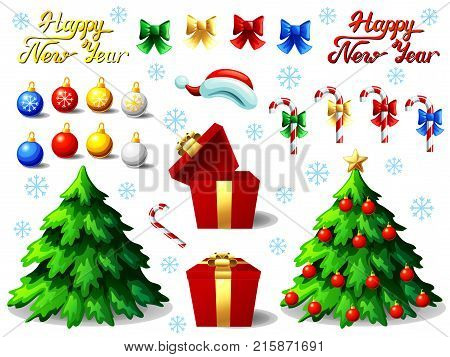 Big set of New Year attributes and Lettering. Fir-tree, sheres, gift box and candy canes. A vector full-color illustration in cartoon style, separately on a white background