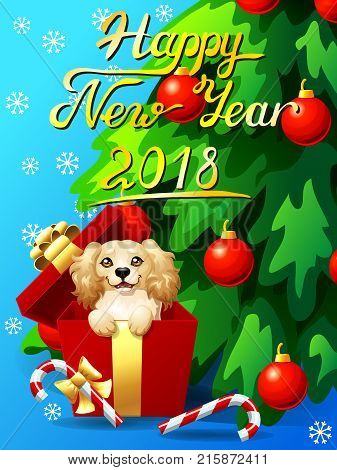 Gift card with an inscription of Happy New year 2018, a dog in a box, a fir-tree with jewelry and a Candy cane. A vector illustration in cartoon 3d style, vertical