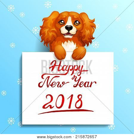 Gift card with the red dog Cocker Spaniel stands with paws on a white banner or a poster with inscription of Happy New year 2018. A vector illustration in cartoon 3d style on blue.
