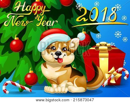 Gift card with an inscription of Happy New year 2018, a Welsh Corgi, a fir-tree with jewelry and a Candy cane. A vector cartoon illustration in cartoon 3d style, horizontal
