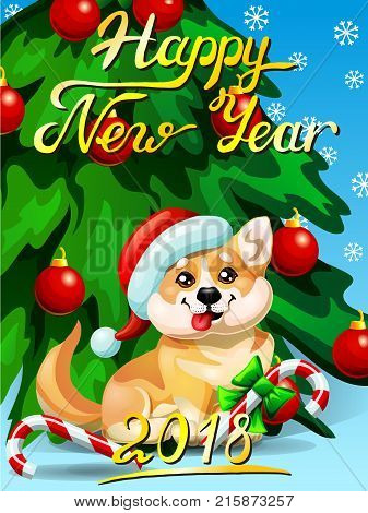 Gift card with an inscription of Happy New year 2018, a Welsh Corgi, a fir-tree with jewelry and a Candy cane. A vector cartoon illustration in cartoon 3d style, vertical.