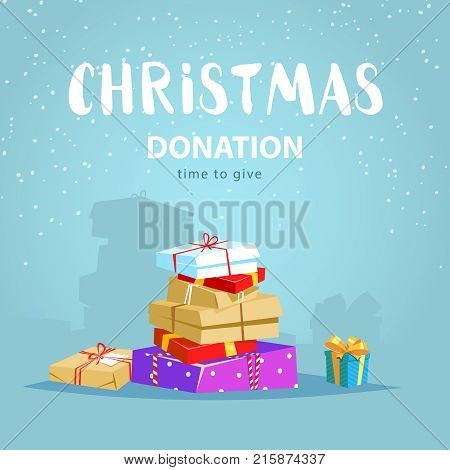 Christmas donate concept. Vector illustration a lot of gift boxs winter season charity