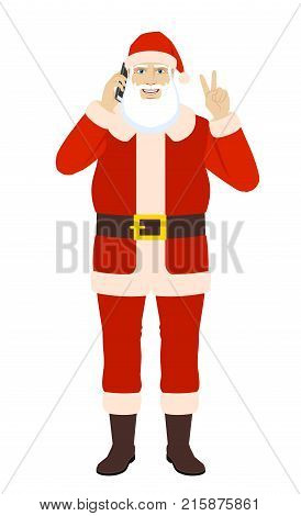 Santa Claus talking on the mobile phone and showing victory sign. Full length portrait of Santa Claus in a flat style. Vector illustration.