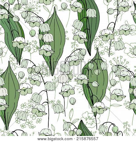 Seamless Season Pattern With White Convallaria. Endless Texture For Floral Summer Design With Flower