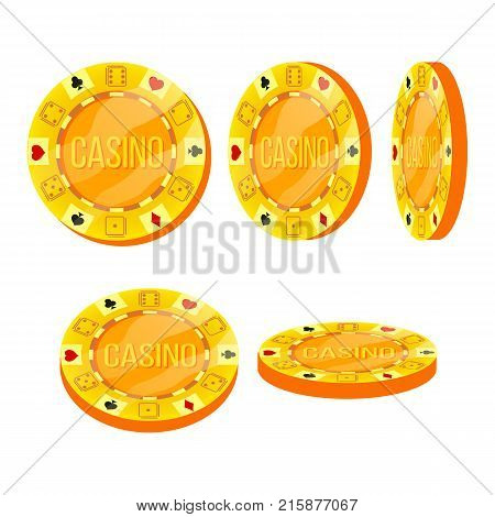 Poker Chips Vector. Flat, Cartoon Set. Casino Sign. Gold Poker Game Chips Sign Isolated On White Background. Casino Gambling Chips