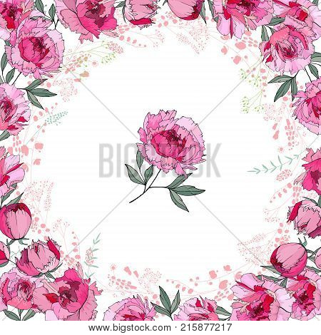 Greeting Card With Round Frame Made Of Roses. Pink And Red Flowers And Space For Test