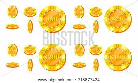 Poker Chips Vector. Flat, Cartoon Set. 20, 50, 100, 200 Dollar Sign. Award Icons. Gold Poker Game Chips Sign Isolated On White Background. Flip Different Angles. Casino Gambling Chips