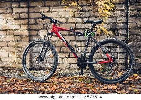 Mountain Bike Stands Near A Brick Wall Front View. Holiday Weekend Activity