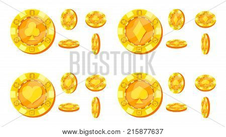 Poker Chips Vector. Card Suits Sign. Flat, Cartoon Set. Gold Poker Game Chips Isolated On White Background. Flip Different Angles. Award Icons. Casino Gambling Chips