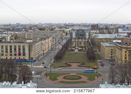 St. Petersburg, Russia - November 2, 2014: Rastrelli Square in St. Petersburg. View from bell tower of of Smolny (Resurrection) Cathedral