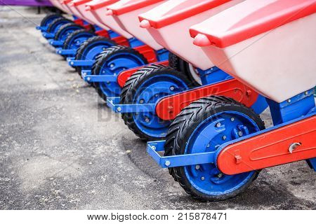 Agriculture machinery. Working parts of modern pneumatic seeder, copy space