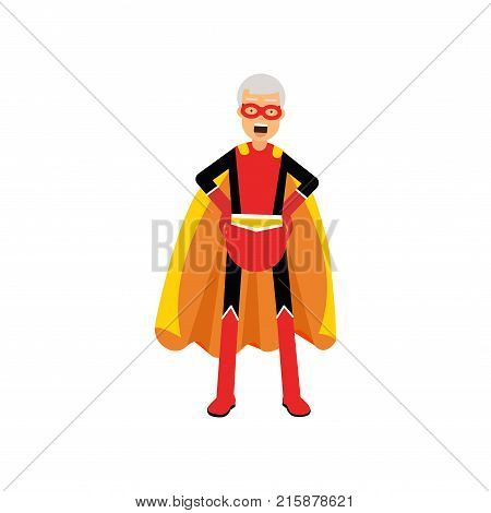 Super grandfather, senior man superhero wearing orange cape standing with hands on hip vector Illustration isolated on a white background