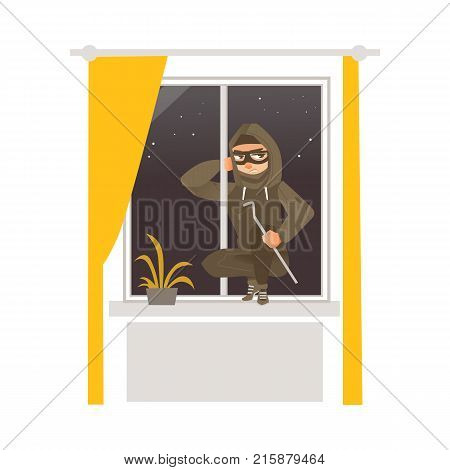 Thief in mask, robber breaking into house through window, flat comic vector illustration isolated on white background. Thief, burglar in mask and black suit breaks window open to rob house, apartment