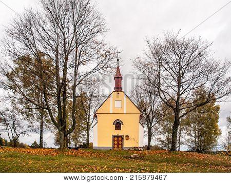 Small Chapel of Saint John of Nepomuk, or John Nepomucene, at Zubri, Trhova Kamenice, Czech Republic.