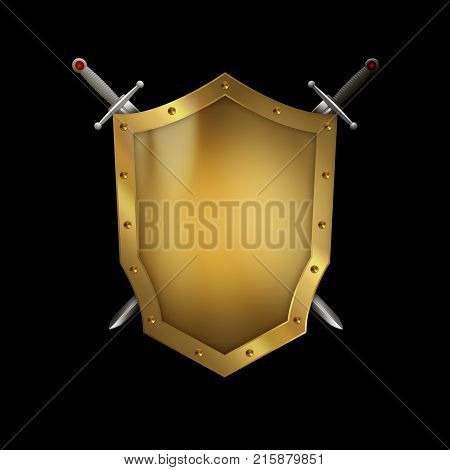 Golden riveted shield with swords on black background.