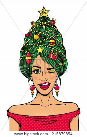 Wow female face. Young sexy woman in red dress with New Year tree decorated with toys gifts on her head smiles and winks. Vector hand drawn illustration in comic style isolated on white background.