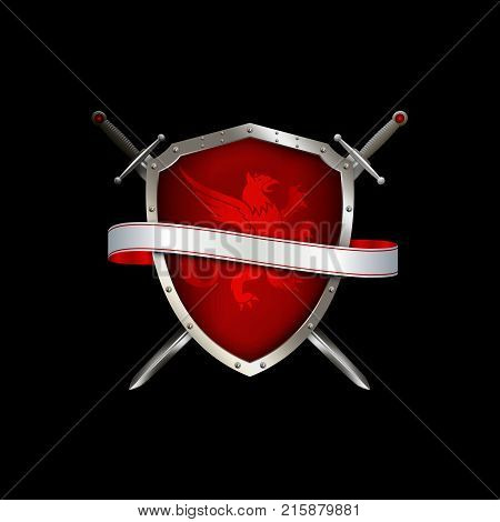Red shield with riveted silver border and two swords and ribbon on black background.