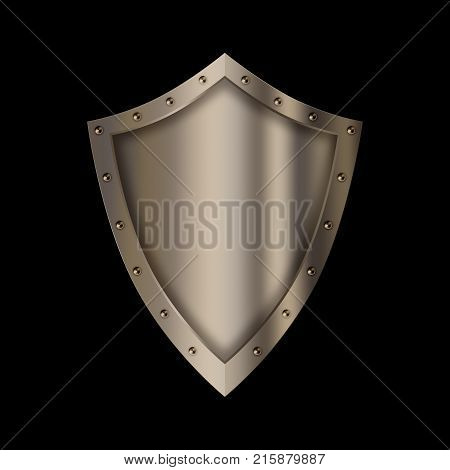 Silver riveted shield. Isolated on black background.