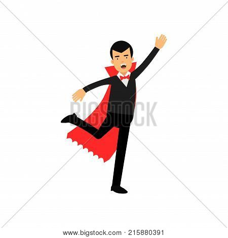 Vampire character attacking his prey, Count Dracula wearing black suit and red cape vector Illustration isolated on a white background