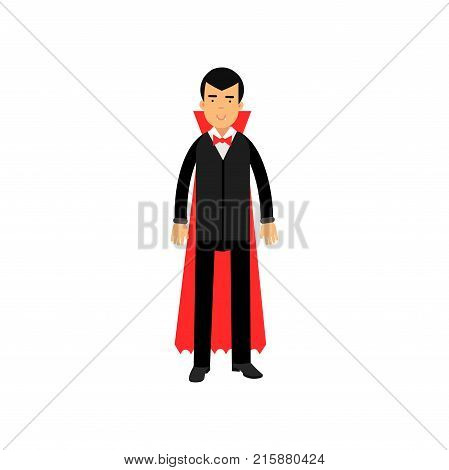 Vampire character wearing black suit and red cape standing, Count Dracula vector Illustration isolated on a white background