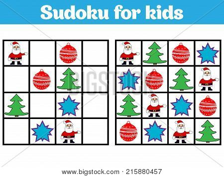 Sudoku game for children with pictures. Logic game for preschool children. rebus for children. Educational game vector illustration. Merry christmas new year.