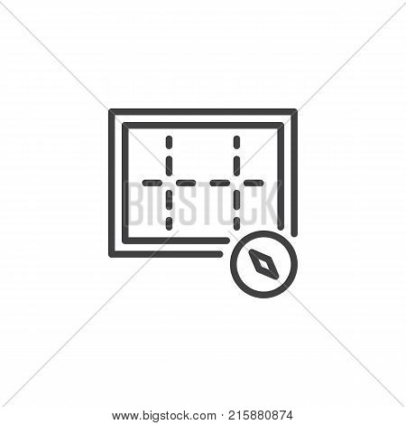 Orientation compass line icon, outline vector sign, linear style pictogram isolated on white. Symbol, logo illustration. Editable stroke